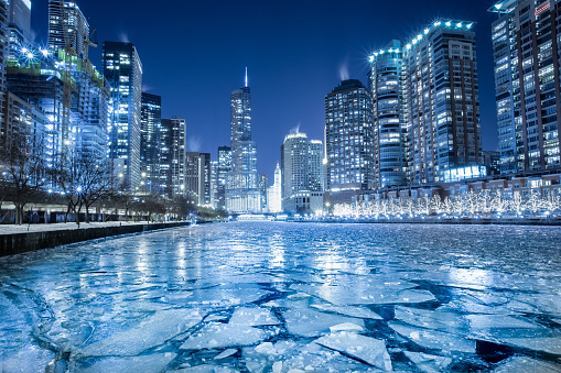 Frozen「Frozen river in winter, Chicago, America, USA」:スマホ壁紙(6)