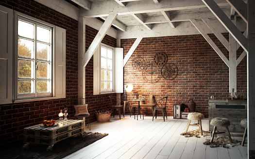 Brick Wall「Warm and Cozy Rustic Interior」:スマホ壁紙(10)