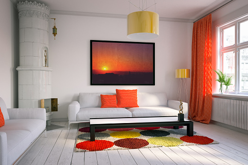 Orange Color「Warm and Cozy Scandinavian Living Room」:スマホ壁紙(14)