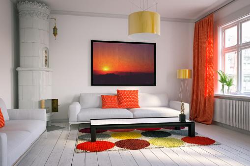 Curtain「Warm and Cozy Scandinavian Living Room」:スマホ壁紙(4)