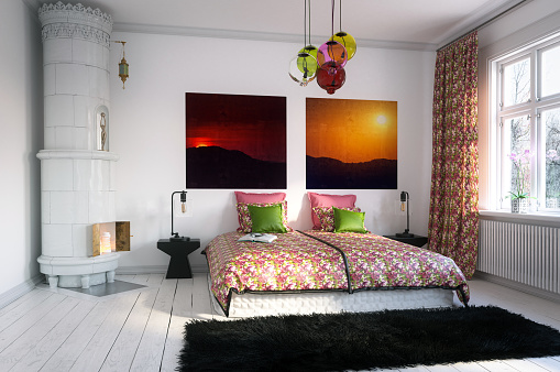 Floral Pattern「Warm and Cozy Home Bedroom」:スマホ壁紙(1)