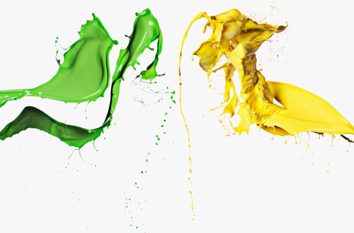 Splashing「Green and yellow paint」:スマホ壁紙(11)