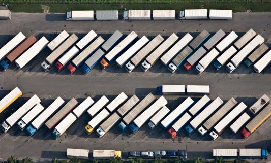 Freight Transportation「Truck parking place from above」:スマホ壁紙(12)