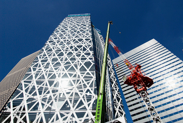 Skyscraper「Mode Gakuen Cocoon Tower under construction in Shinjuku, Tokyo, Japan, Nov 2007 Architect Tange Associates」:写真・画像(1)[壁紙.com]
