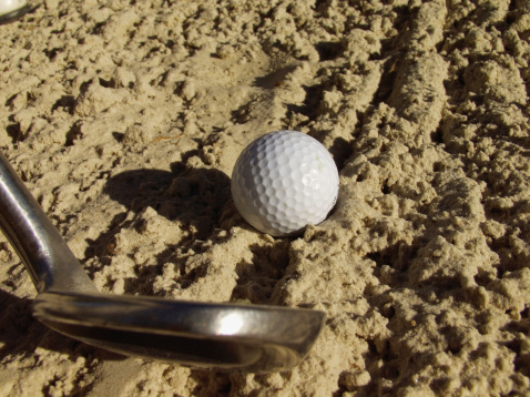 Sand Trap「Golf ball and iron club in sand trap, extreme close-up, part of」:スマホ壁紙(12)