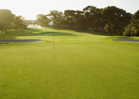 Golf「Flag on putting green of golf course」:スマホ壁紙(12)