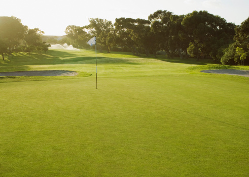 Golf「Flag on putting green of golf course」:スマホ壁紙(12)