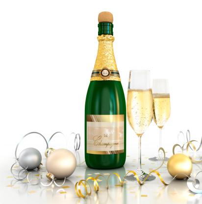 お正月「お祝い(シャンパン-白背景)」:スマホ壁紙(18)