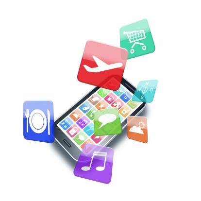 Mobile App「Apps flying around a modern smartphone」:スマホ壁紙(17)