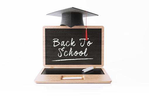 Chalk - Art Equipment「Laptop Shaped Blackboard With A Graduation Cap On White Background」:スマホ壁紙(14)