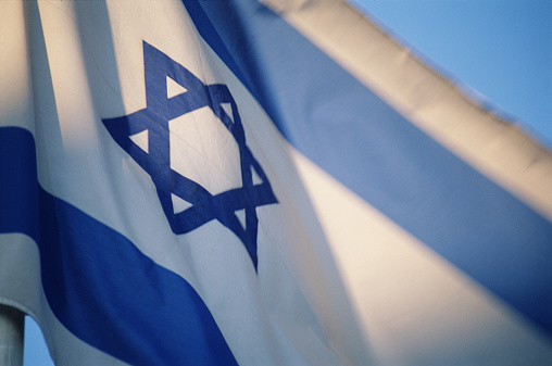 Religious Symbol「Flag of Israel with Star of David emblem, low angle view」:スマホ壁紙(16)
