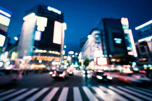 Neon Colored「Busy Shibuya crossing in Tokyo,Œjapan」:スマホ壁紙(4)