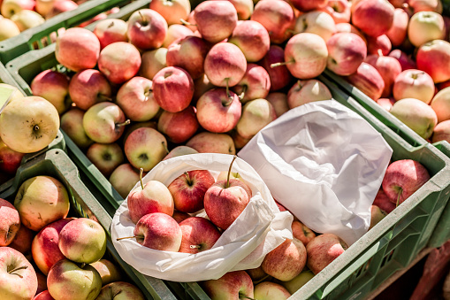 Casual Clothing「Cloth bag and plastic bag on boxes with apples on weekly market」:スマホ壁紙(3)