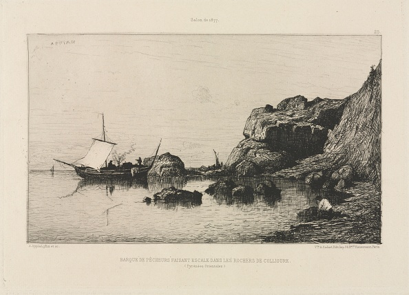 Etching「Fishing Boat Making A Port Of Call At The Rocks Of Collioure」:写真・画像(15)[壁紙.com]