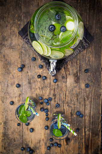 Infused Water「Glass of infused water with lime, blueberries and mint」:スマホ壁紙(4)