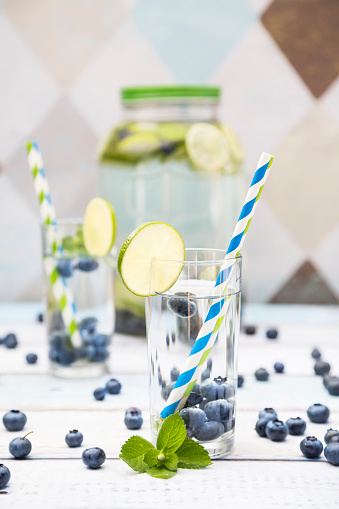 Infused Water「Glass of infused water with lime, blueberries and mint」:スマホ壁紙(1)