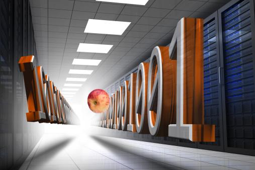 Data Center「Composite image apple floating in data center」:スマホ壁紙(3)