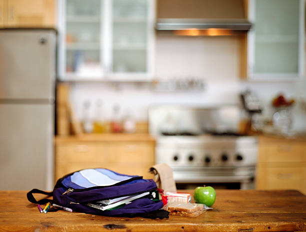 Student's Backpack and Lunch on Kitchen Counter:スマホ壁紙(壁紙.com)
