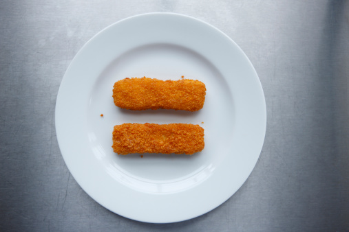 Gray Background「Fish fingers on plate, elevated view」:スマホ壁紙(10)