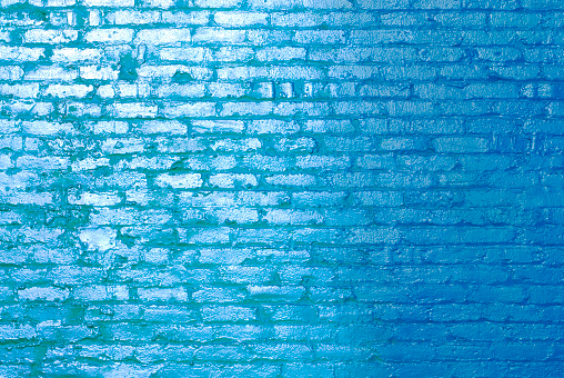 Brick Wall「Blue brick wall in sunlight」:スマホ壁紙(13)