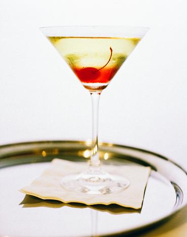 盆「Layered Cocktail in Martini Glass with Cherry Garnish」:スマホ壁紙(1)