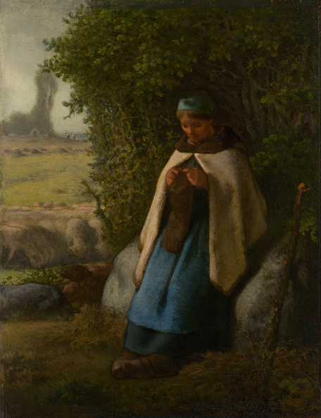 Jean Francois Millet「Shepherdess Seated On A Rock」:写真・画像(10)[壁紙.com]