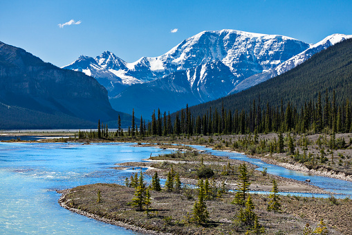 Athabasca River「Athabasca River in the Canadian Rocky Mountains of Jasper National Park, Alberta, Canada」:スマホ壁紙(12)