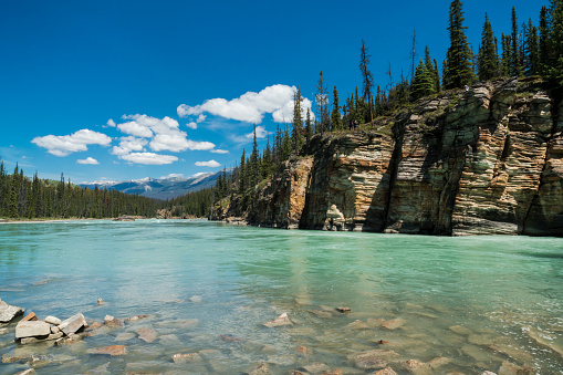 Athabasca River「Athabasca River in the Canadian Rocky Mountains of Jasper National Park, Alberta, Canada」:スマホ壁紙(19)