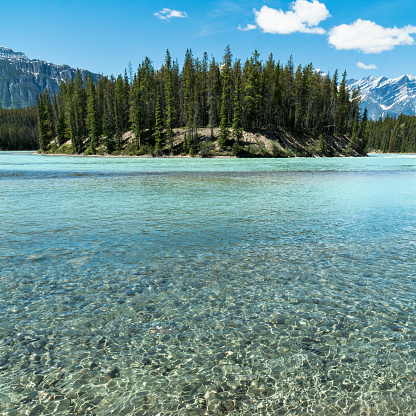 Athabasca River「Athabasca River in the Canadian Rocky Mountains of Jasper National Park, Alberta, Canada」:スマホ壁紙(7)