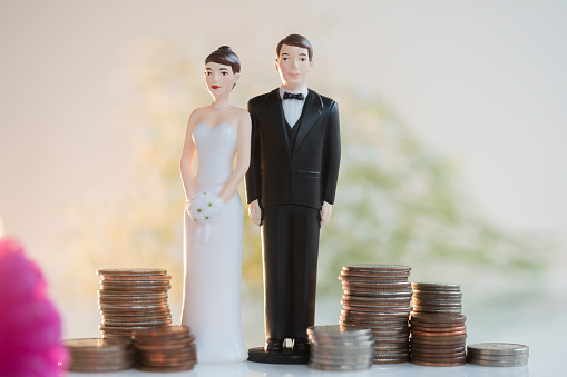 Married「Bride and Groom cake toppers next to stacks of coins」:スマホ壁紙(3)