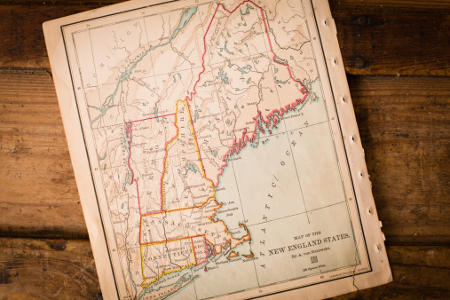 Sepia Toned「Old Map of New England States, Sitting Angled on Trunk」:スマホ壁紙(7)