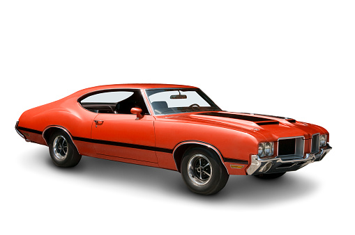Collector's Car「Orange Oldsmobile 442 against a plain white backdrop」:スマホ壁紙(18)