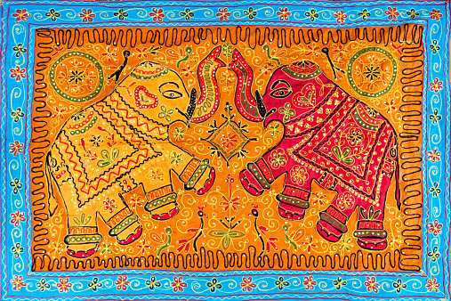 Indian Culture「Elephant's design rug」:スマホ壁紙(11)