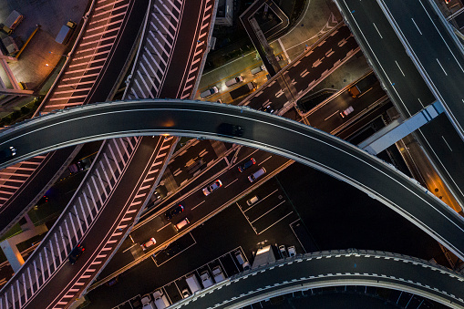Parking Lot「Night photograph of complicated intersecting highway.」:スマホ壁紙(9)