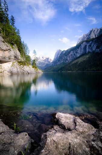 Dachstein Mountains「Austria, salzkammergut, Gosau, Lake Gosausee, Dachstein and Gosaukamm in the background」:スマホ壁紙(10)