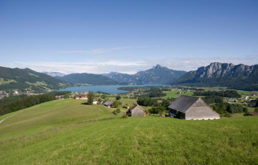 シリーズ画像「Austria, Salzkammergut, Lake Mondsee with Mount Schafberg in background」:スマホ壁紙(7)