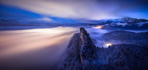 Dachstein Mountains「Austria, Salzburg State, Hallein, Berchtesgaden Alps, Small Barmstein, Panorama」:スマホ壁紙(10)