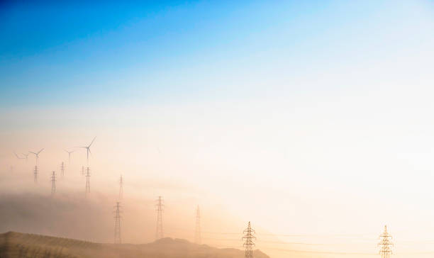 Power Generating Windmills and Electricity pylon:スマホ壁紙(壁紙.com)