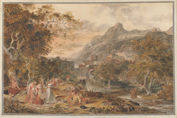 Agriculture「View Of Vietri With Young Country Women Dancing For Shepherds In The Foreground」:写真・画像(0)[壁紙.com]