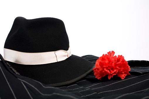 カーネーション「1920 年代のスーツ、レッドのカーネーションのラペル、付きフェドーラ帽ます。マル獄シリーズの服。」:スマホ壁紙(2)
