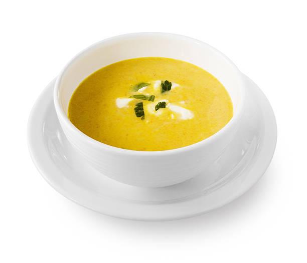 Yellow cream soup with garnish:スマホ壁紙(壁紙.com)