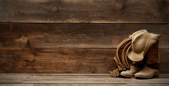 Old-fashioned「Western barnwood background w/boots,hat,lasso-extra wide」:スマホ壁紙(18)