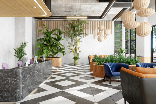 Hotel Reception「Lobby With Reception Desk And Lounge Area With Plants」:スマホ壁紙(2)