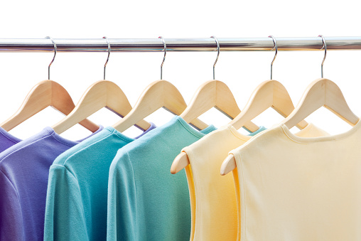 Clothing「Clothing Merchandise, Shirts Hanging on Coathanger Rack Retail Display」:スマホ壁紙(11)