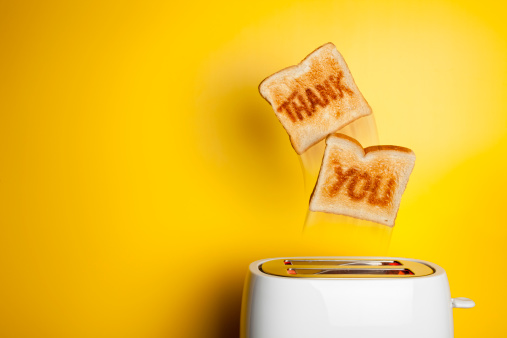 Breakfast「Jumping toast bread - thank you」:スマホ壁紙(1)