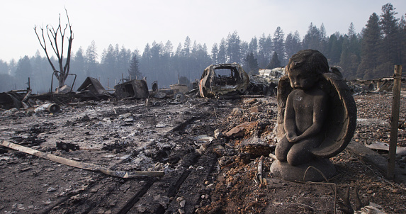 Refugee「After the Fire Destroyed Everything, A Stone Sculpture of an Angel Endures, Watching over the Ash, Rubble, and Wrecked Vehicle in the Neighborhood」:スマホ壁紙(4)