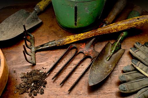 Gardening「Garden tools on wood」:スマホ壁紙(10)