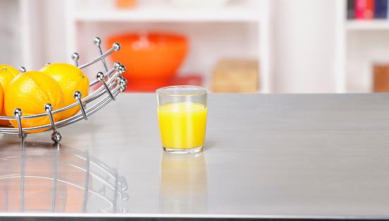 Fruit Bowl「Fruit Basket  And Orange Juice On A Kitchen Workshop」:スマホ壁紙(13)