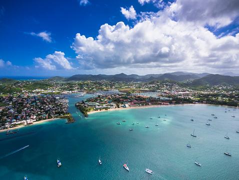 St「Caribbean, St. Lucia, Rodney Bay, Cap Estate, aerial photo of Reduit Beach」:スマホ壁紙(3)