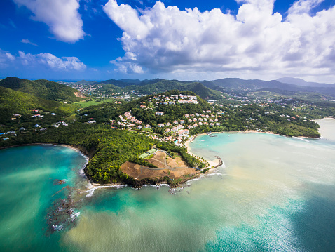 St「Caribbean, St. Lucia, Choc Bay, aerial photo of Calabash Cove Resort」:スマホ壁紙(15)